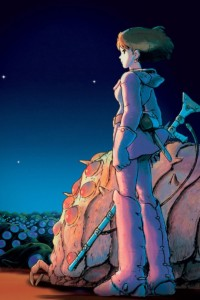 Title image for Nausicaä of the Valley of the Wind. Girl in futuristic clothes holds a rifle and stands next to a giant insect